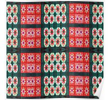 Red Green stars flowers pattern Poster
