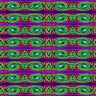 Fancy green pink swirl pattern by donnagrayson