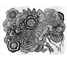 Kuntuman #3 black and white doodle art Poster