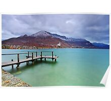 Autumn snow over the lake in Annecy Poster