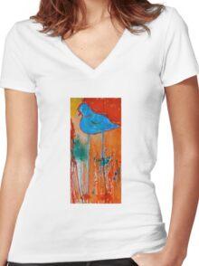 Blue Bird Women's Fitted V-Neck T-Shirt