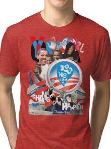 """OBAMA """"change can happen"""" Tri-blend T-Shirt"""
