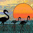 Flamingos in the Morning by Deborah Dillehay