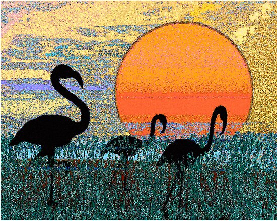 Flamingos in the Morning by Deborah Dillehay