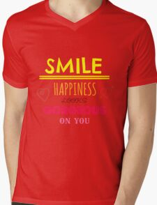 Smile Happiness Looks Gorgeous On You Mens V-Neck T-Shirt