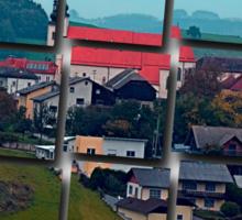 Village skyline on a cloudy day | landscape photography Sticker