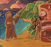 Sasquatch Makes His First Trip To Hawaii by Kit Fox