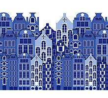 Amsterdam Delft Blue Style Dutch Houses Photographic Print