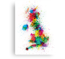 Great Britain UK Map Paint Splashes Canvas Print