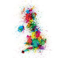 Great Britain UK Map Paint Splashes Photographic Print