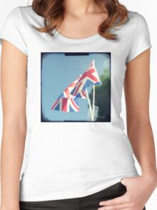 Flags - Union Jacks in a blue sky Women's Fitted Scoop T-Shirt