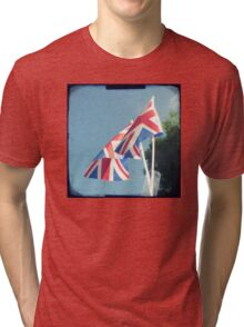 Flags - Union Jacks in a blue sky Tri-blend T-Shirt