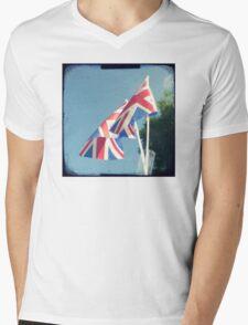 Flags - Union Jacks in a blue sky Mens V-Neck T-Shirt