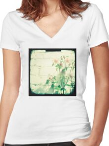 Pink petals Women's Fitted V-Neck T-Shirt
