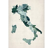 Watercolor Map of Italy Photographic Print