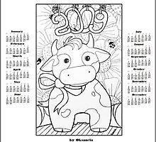 Free printable coloring calendar 2009 by oksancia