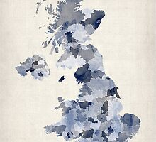Great Britain UK Watercolor Map by Michael Tompsett