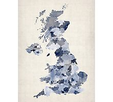 Great Britain UK Watercolor Map Photographic Print
