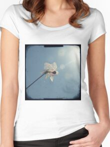 Windmill in a blue sky Women's Fitted Scoop T-Shirt