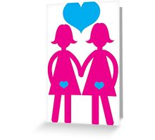 Two ladies hand in hand in love lesbians Greeting Card