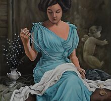 Vintage, Oil painting woman by RmvPortraitsArt