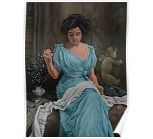 Vintage, Oil painting woman Poster