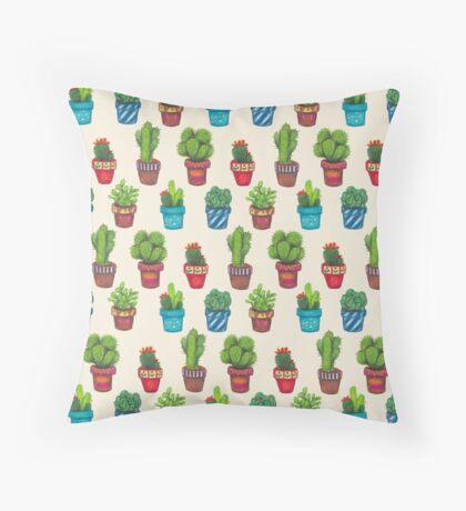 Cactus Pot Plant Garden Throw Pillow