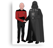 Picard and Vader - Shaking Hands - Can't We All Just Get Along? Metal Print