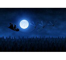 Christmas: Santa Flying 2 Photographic Print