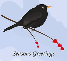 Blackbird - Seasons Greetings Card by Jacqueline Turton