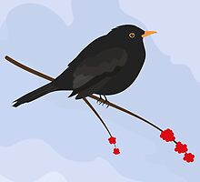 Blackbird Greeting Card by Jacqueline Turton