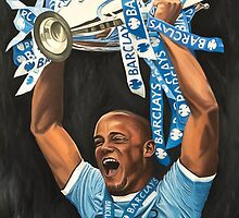 Vincent Kompany lifting Barclays trophy by RmvPortraitsArt