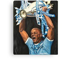 Vincent Kompany lifting Barclays trophy Canvas Print