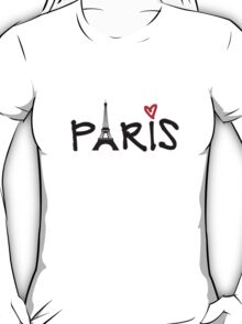 Paris with Eiffel tower and red heart T-Shirt