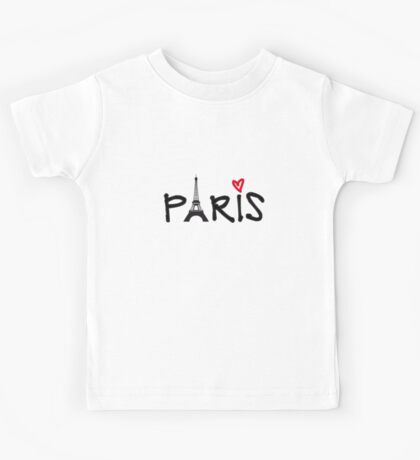 Paris with Eiffel tower and red heart Kids Tee