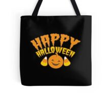 Happy HALLOWEEN!  with a pumpkin and candy corn Tote Bag