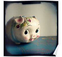 Pretty piggy - vintage china piggy bank photograph Poster