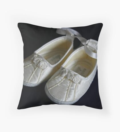 The Christening Shoes Throw Pillow
