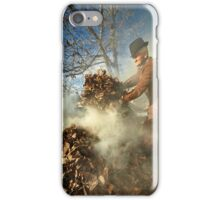 Old farmer burning dead leaves iPhone Case/Skin