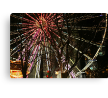 Ferris wheel and christmas tree lights Canvas Print