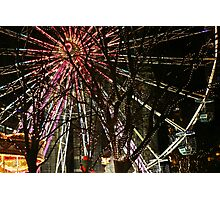 Ferris wheel and christmas tree lights Photographic Print