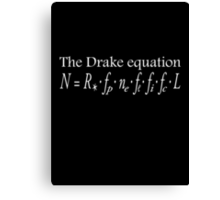 The Drake equation, SETI, Alien, search for extraterrestrial life, Contact, Is there anyone there? White on Black Canvas Print