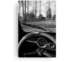 Saturday Drive in Patch Black and White Canvas Print