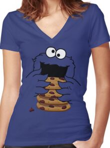 Cookie Monster Women's Fitted V-Neck T-Shirt