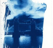 Tower Bridge London Cyanotype Print by William R. Bullock