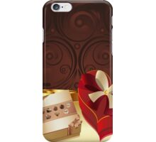 Brown Background with Chocolate Box 3 iPhone Case/Skin