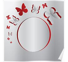 Card with cut out butterflies Poster