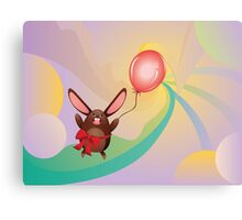 Chocolate Bunny with Balloon 3 Canvas Print