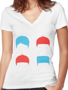 Coloured Mops Women's Fitted V-Neck T-Shirt