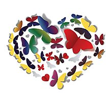 Heart of paper butterflies Photographic Print